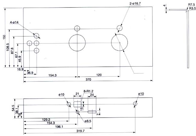 FN-12(R)D/100-31.5负荷开关电动操作机构开孔尺寸图