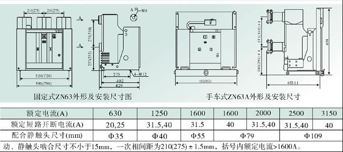 VS1-12-630/20KA,ZN63户外高压真空断路器 安装及尺寸图