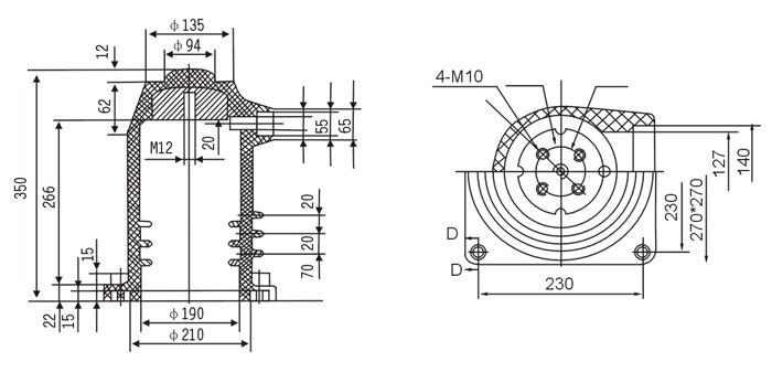ch3-10q中置柜触头盒的结构图纸